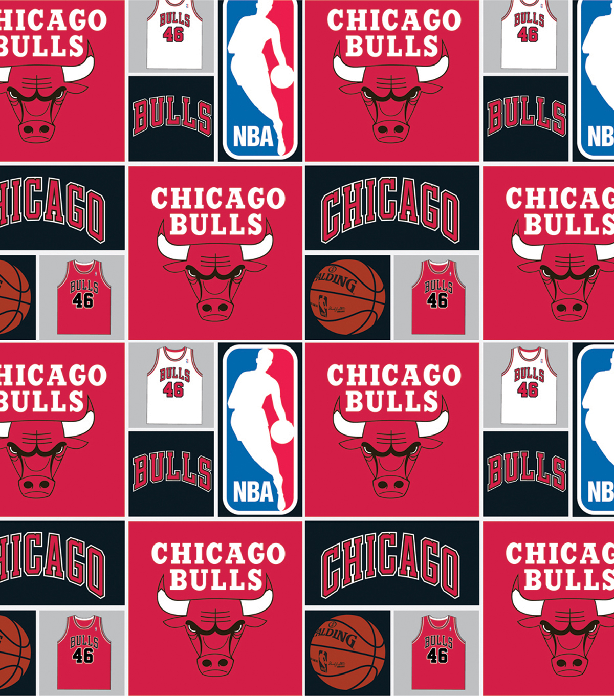 Chicago Bulls Cotton Fabric 44\u0022-Patch