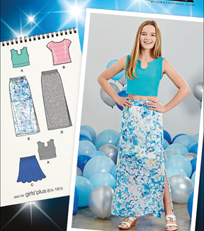 Simplicity Patterns Us1124Aa-Simplicity Girls' And Girls' Plus Tops And Skirts-8-10-12-14-16