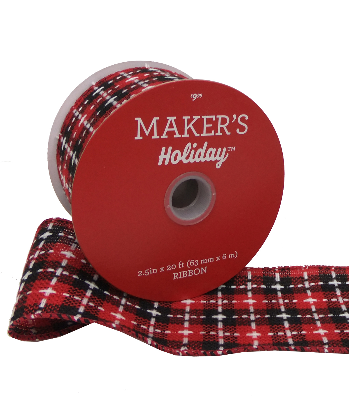 Maker\u0027s Holiday Ribbon 2.5\u0027\u0027x20\u0027-Black & Red Check with White Stitch