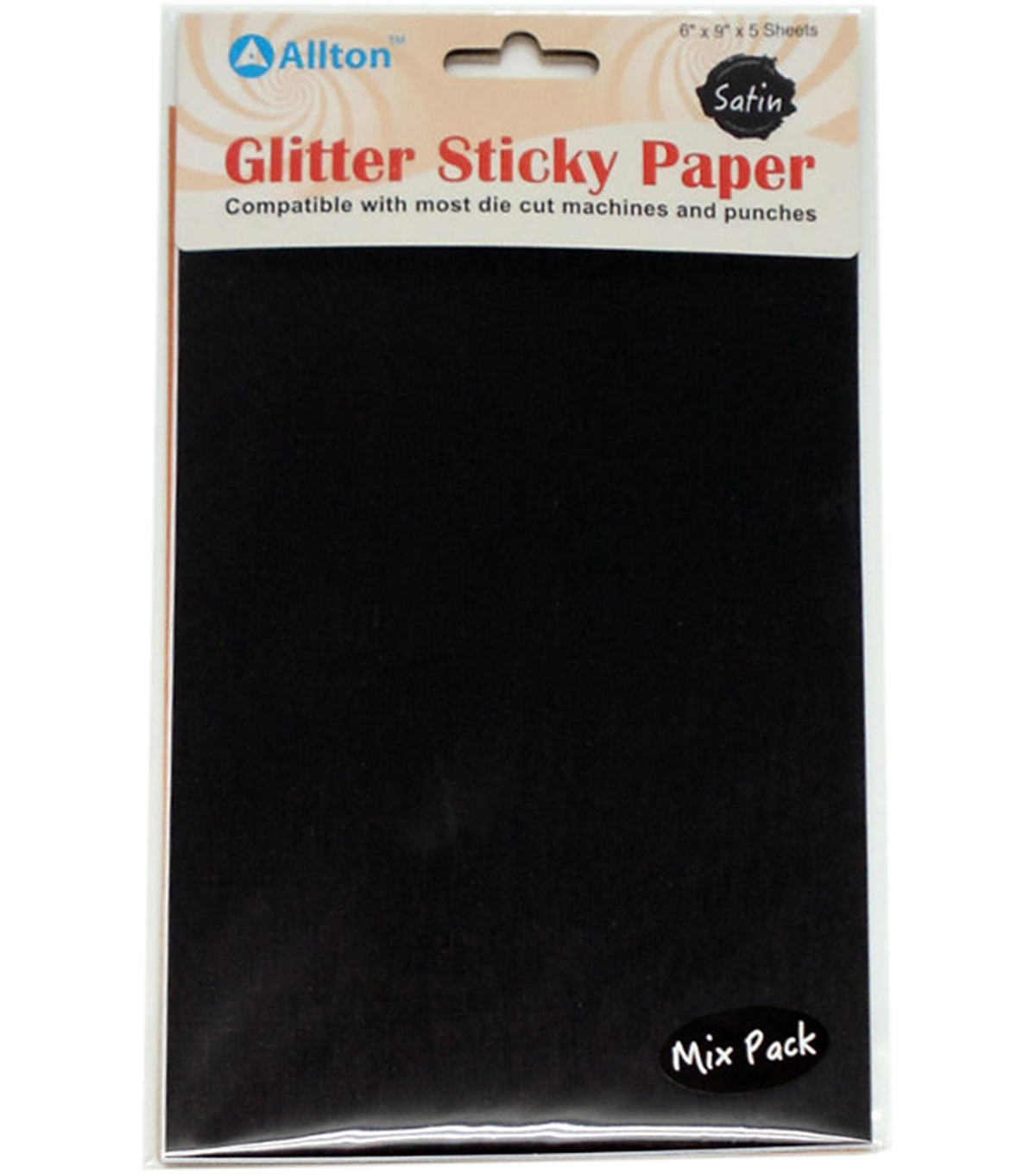 Allton 6\u0022X9\u0022 Satin Glitter Sticky Paper Mix Pack-Black