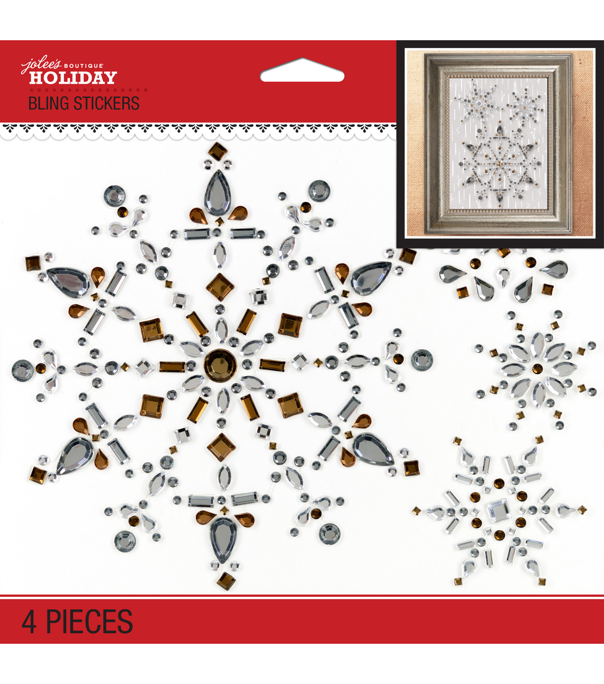Jolee\u0027s Boutique® Holiday Bling Stickers 4pk-Snowflake