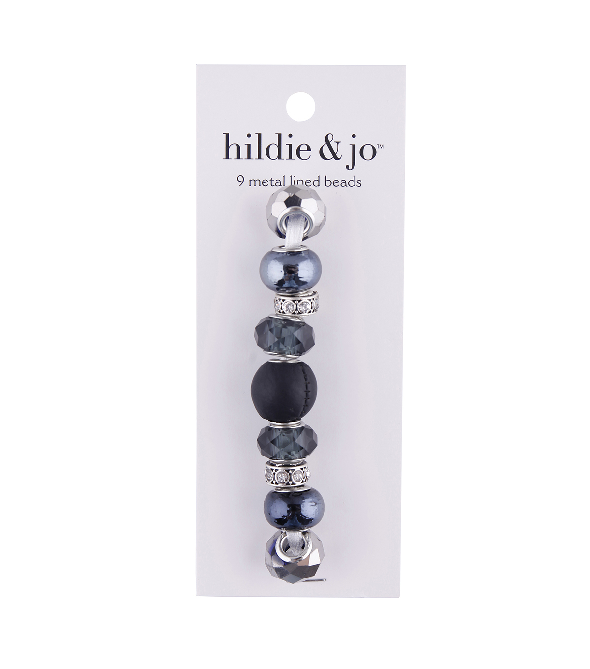 hildie & jo™ 9 pk Metal Lined Glass Beads-Black & Silver