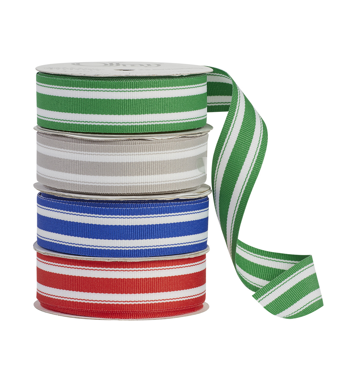 Offray 7/8\u0022x9\u0027 Mono Center Stripes Woven Ribbon