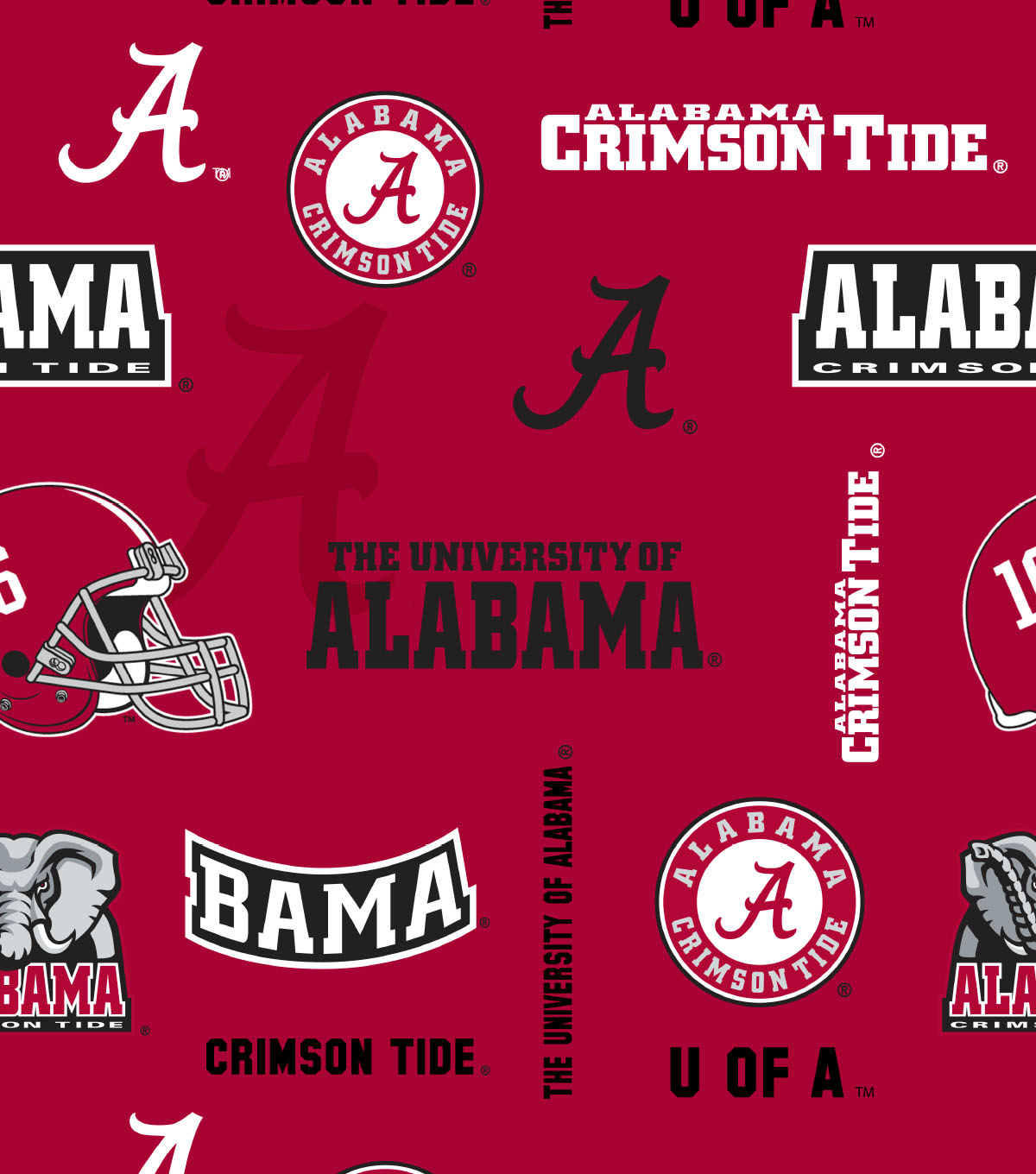 University of Alabama Crimson Tide Cotton Fabric 44\u0022-Allover
