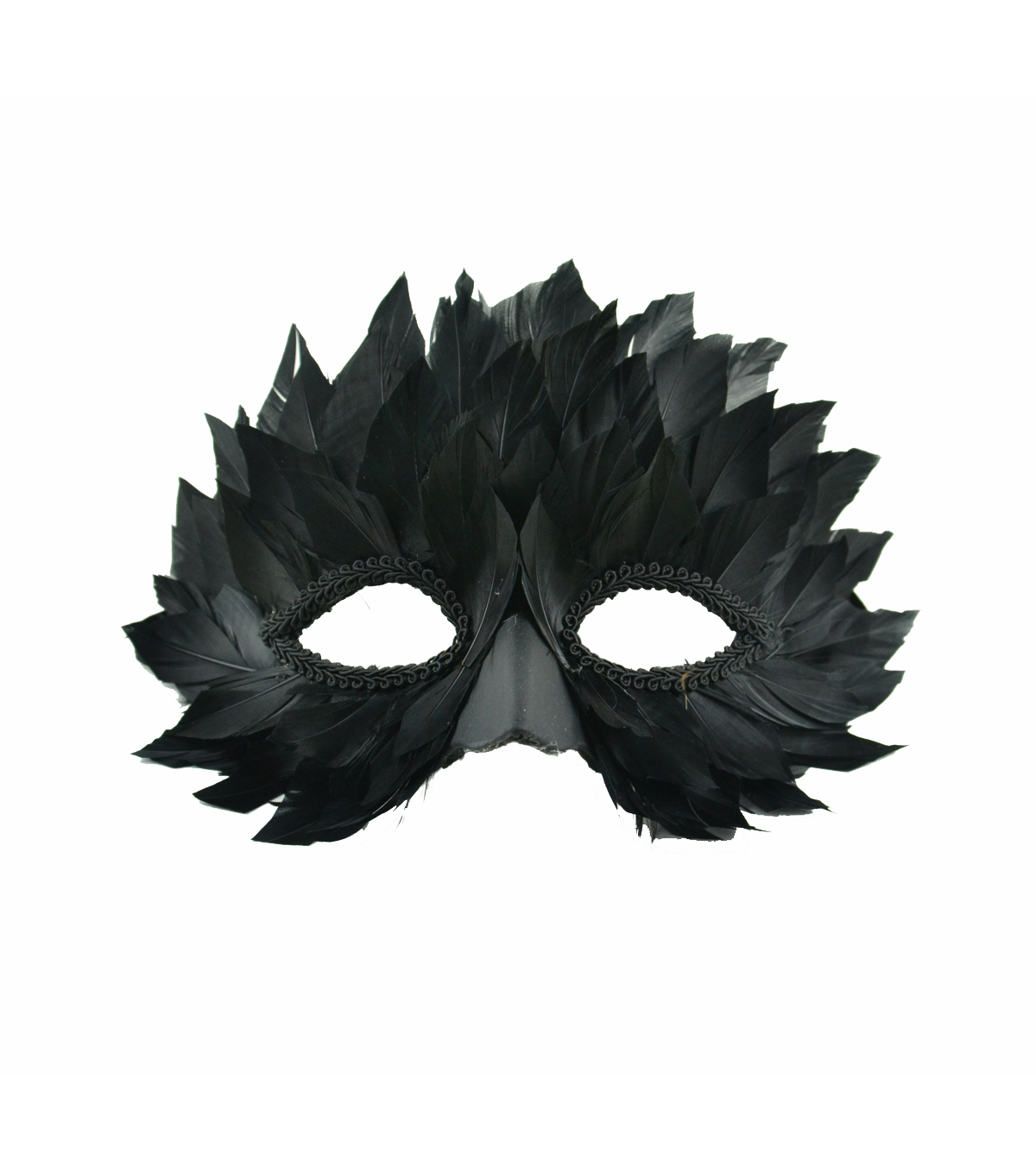 Maker\u0027s Halloween Half Mask with Feathers-Black