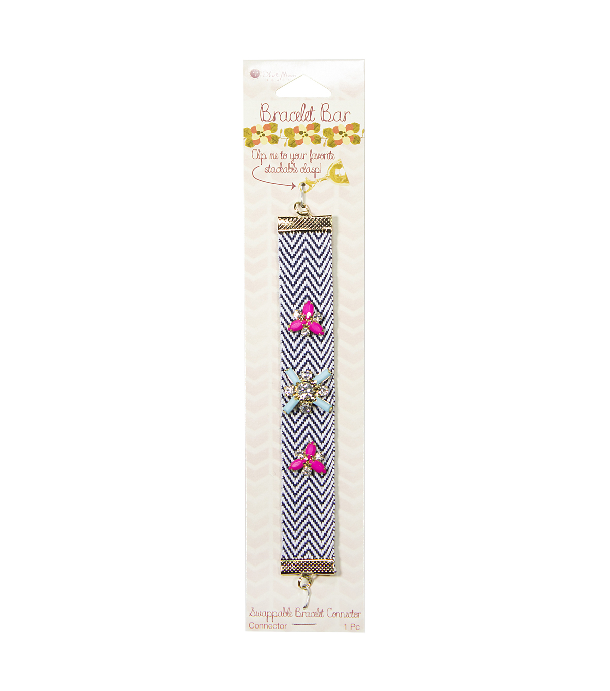 Bracelet Bar Connector Twill Ribbon with rhinestone embellishment