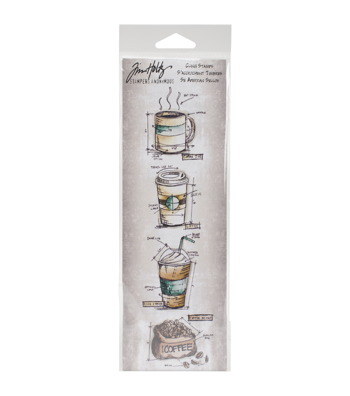 Tim Holtz Mini Blueprints Strip Cling Stamps 3\u0022X10\u0022-Fresh Brewed