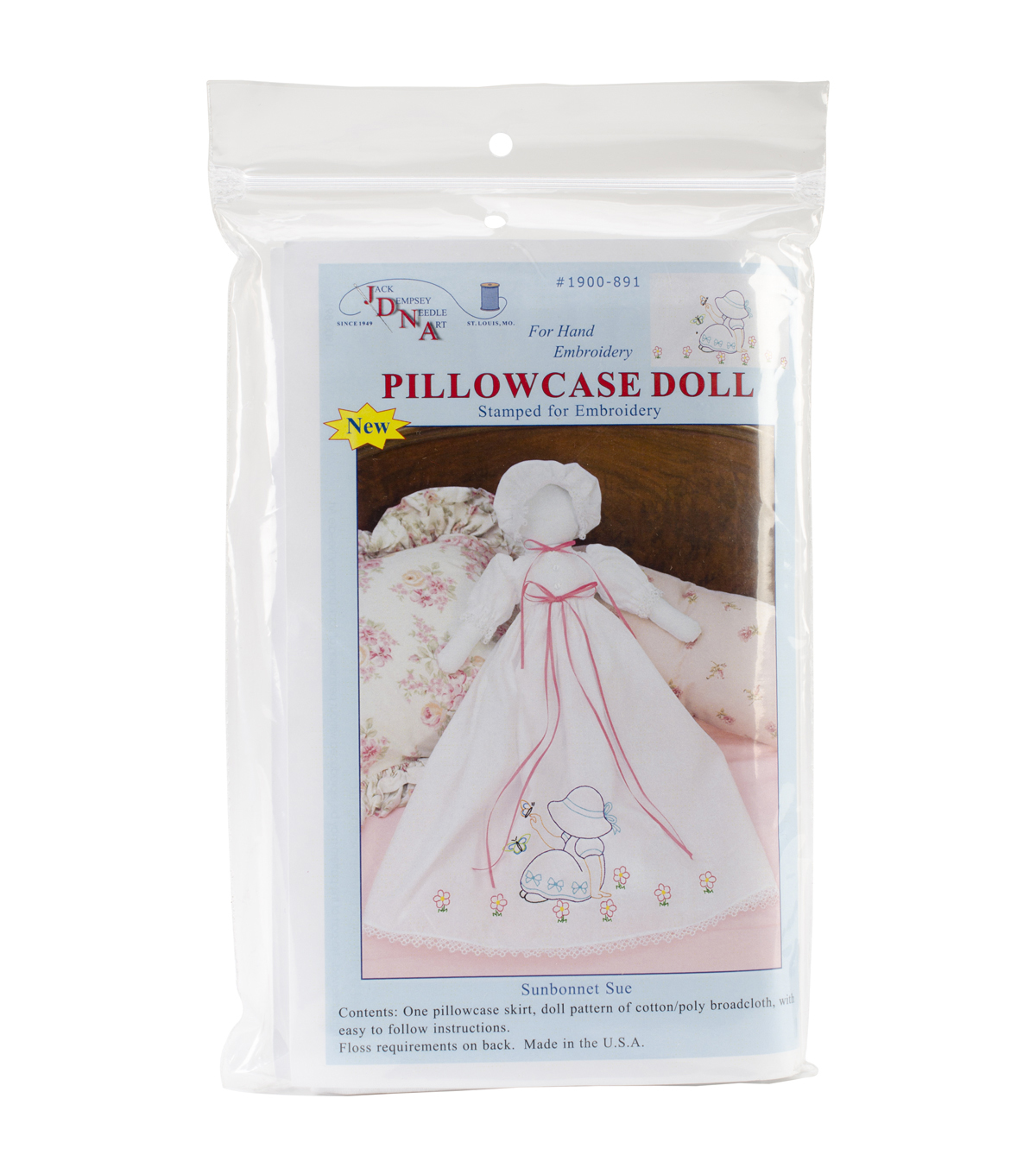 Jack Dempsey Stamped Pillowcase Doll Kit Sunbonnet Sue White