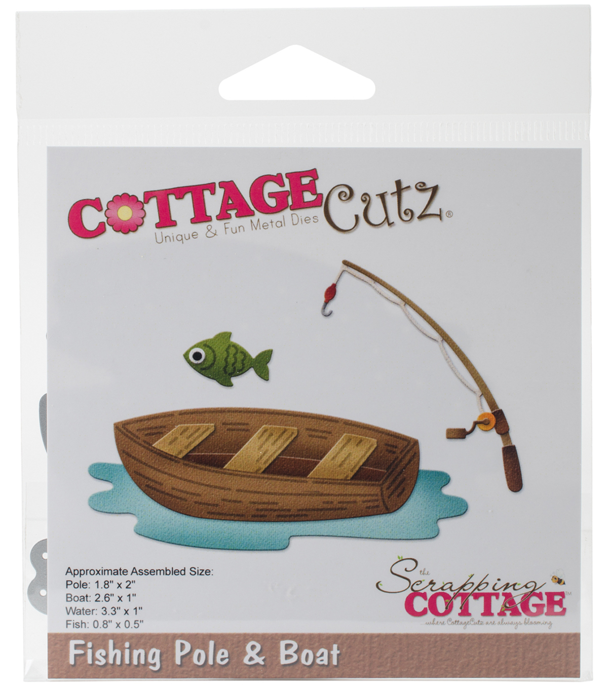 CottageCutz Die-Fishing Pole & Boat .8\u0022 To 3.3\u0022