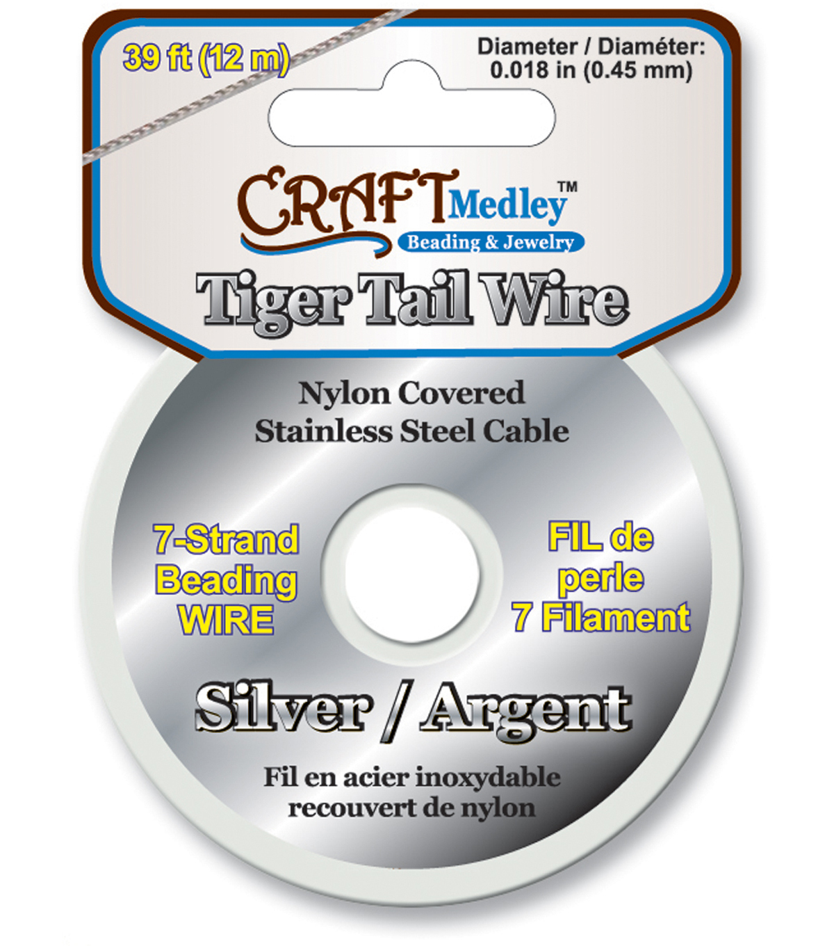 Tiger Tail Beading Wire 7-Strand .45mm 39ft/Pk-Silver
