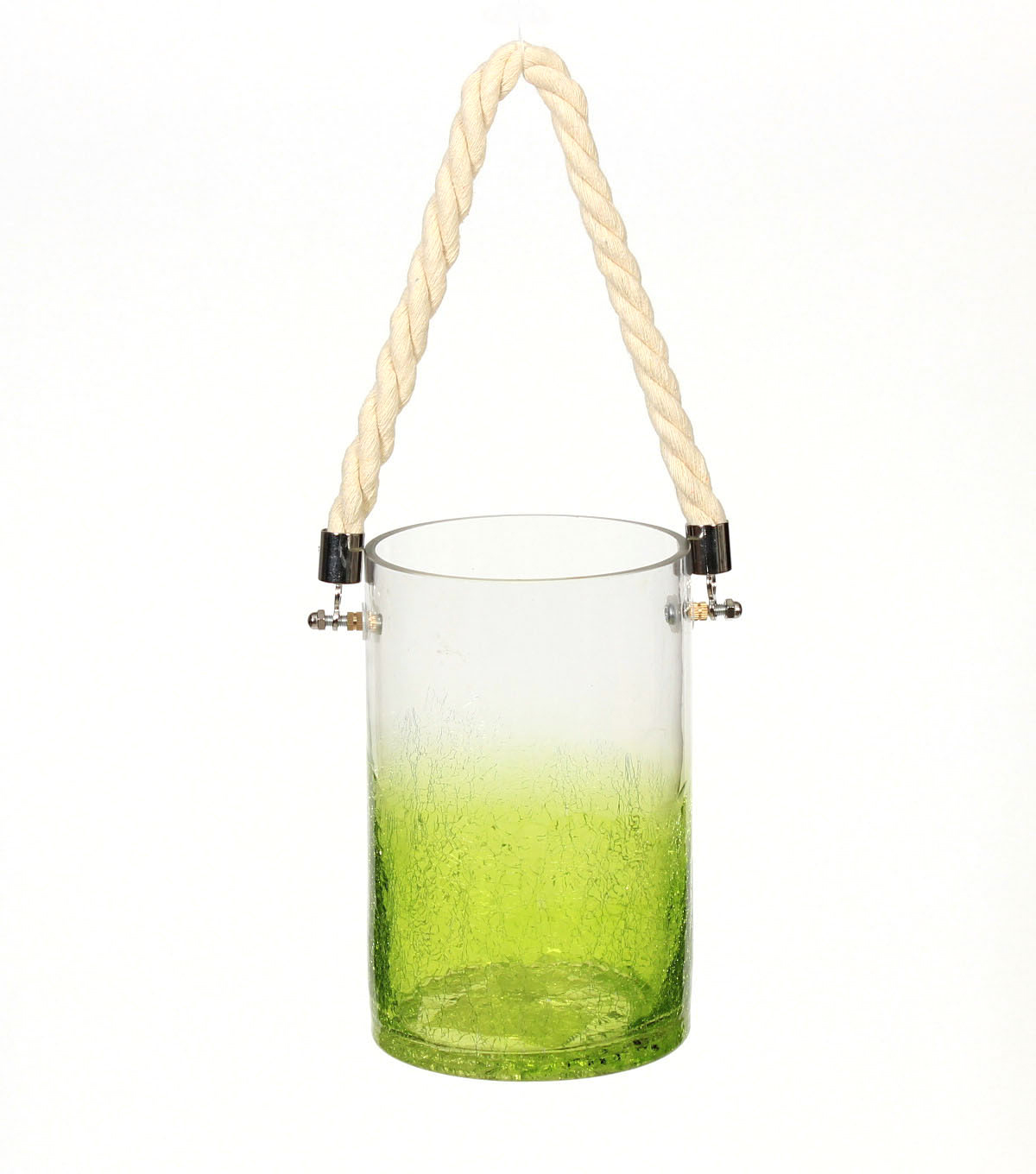 Summer Sol Glass Lantern with Rope-Green Ombre