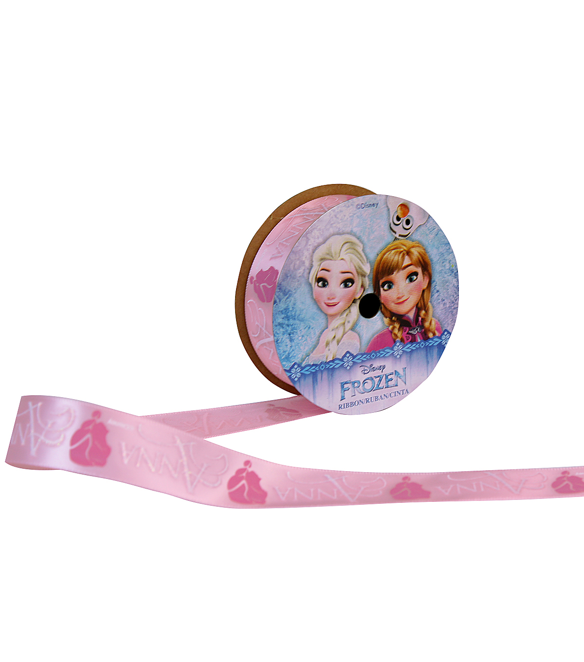 Offray 7/8\u0022x9\u0027 Anna Frozen Character Single Faced Satin Ribbon-Pink
