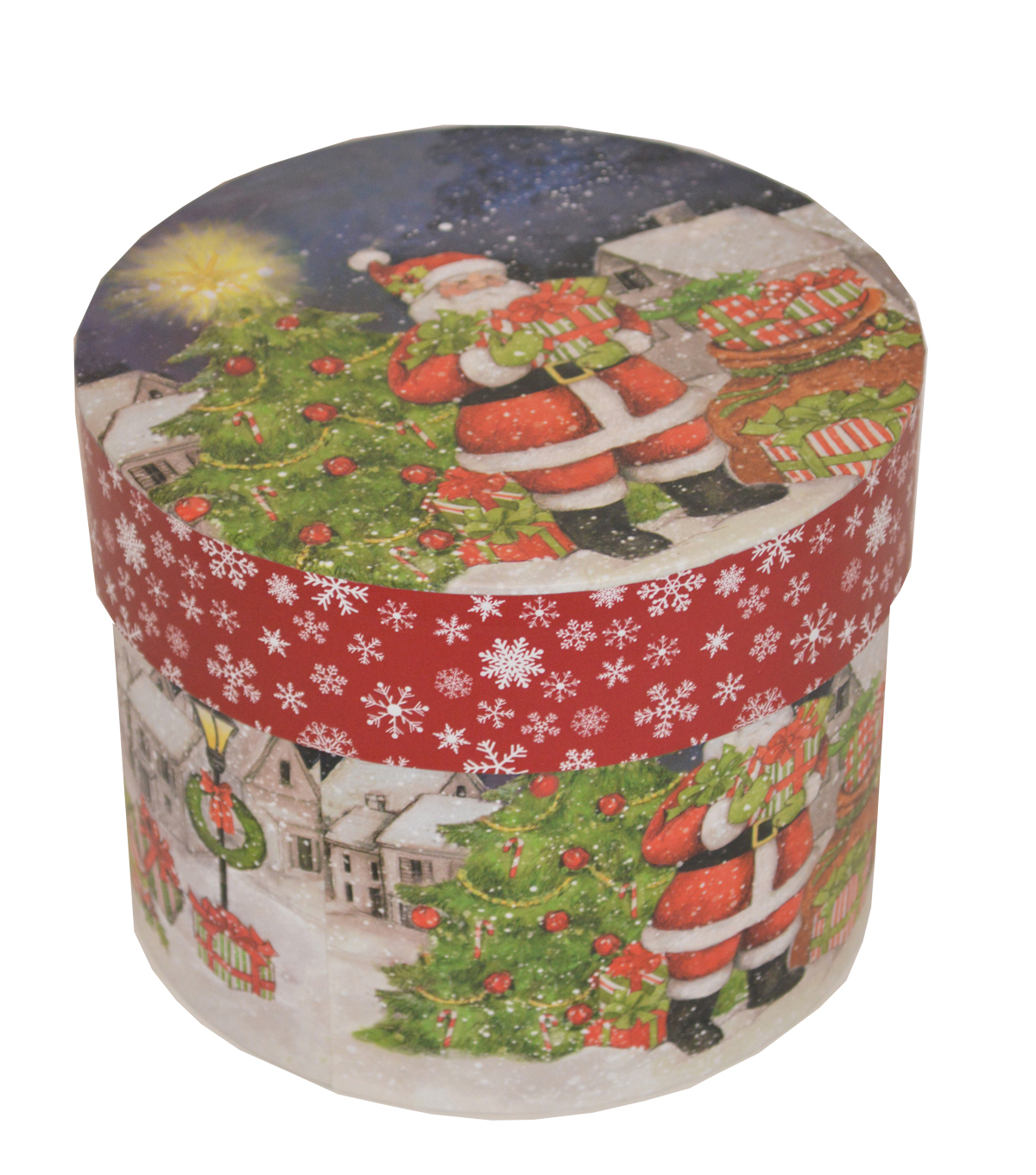 Maker\u0027s Holiday Large Round Storage Box-Santa & Tree