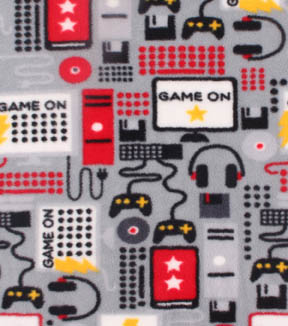 Anti-Pill Fleece Fabric 59\u0022-Game On Red Black