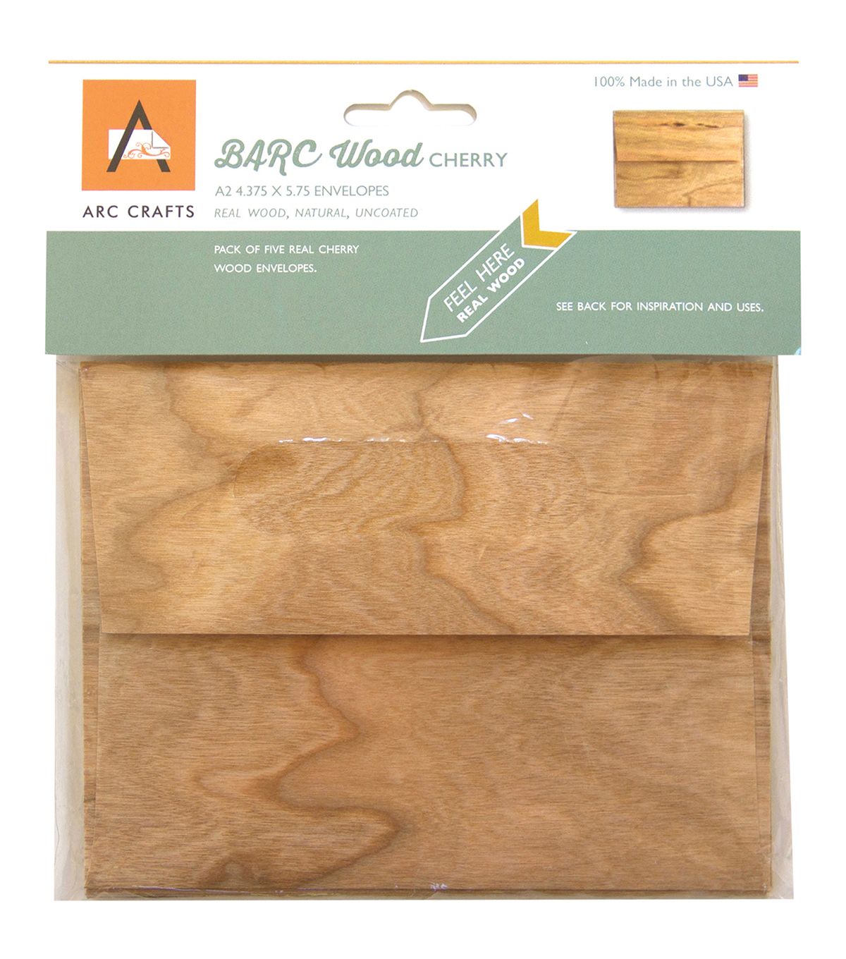 Arc Crafts BARC Wood Veneer 5ct A2 Envelopes-Cherry