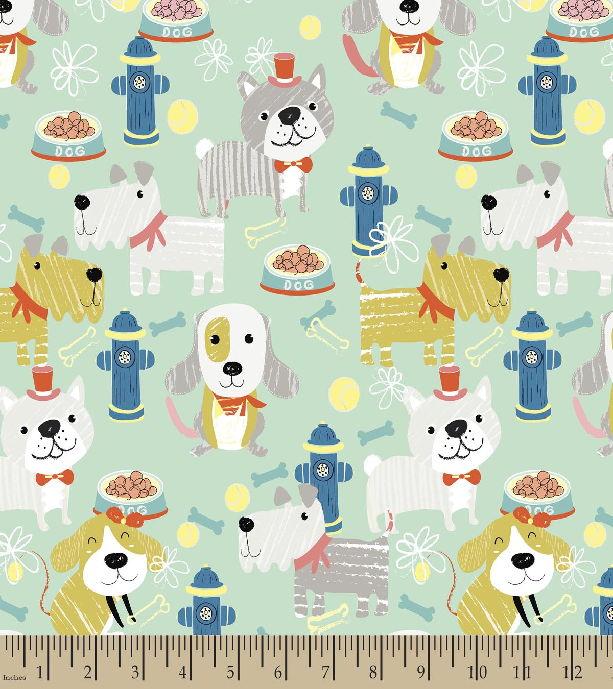 Doggie Fire Hydrant Print Fabric