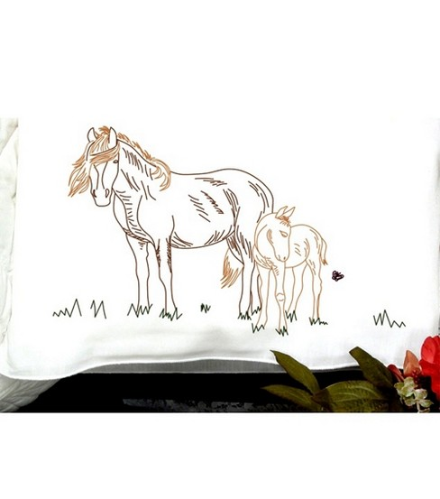 Perle Edge Stamped Pillowcase-Mare & Foal