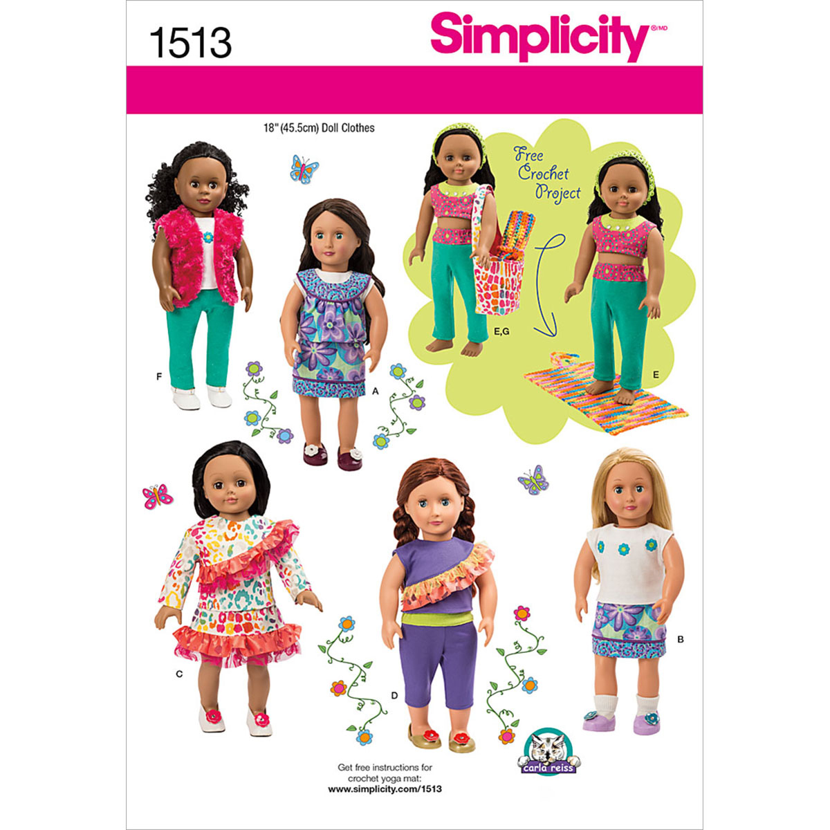 Simplicity Pattern 1513OS One Size -Crafts Doll Clothes