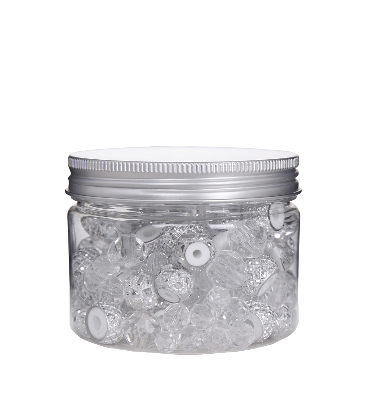 hildie & jo™ Assorted Fashion Beads in Plastic Jar-Silver & Clear