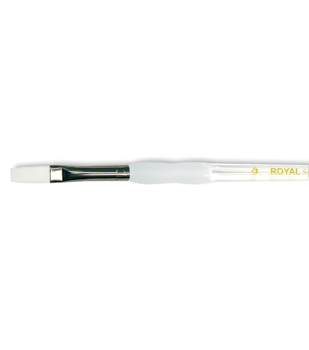 Royal Brush-Soft-Grip White Taklon Flat Brush-Size 8