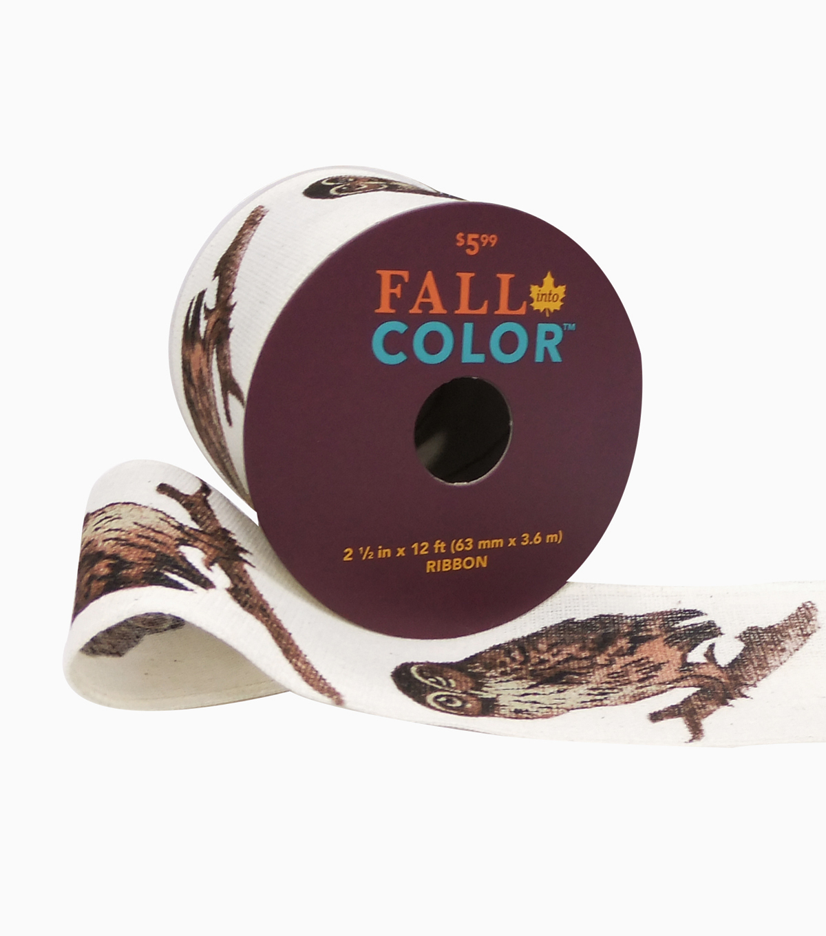 Fall Into Color Ribbon 2.5''x12'-Brown Owl on Ivory