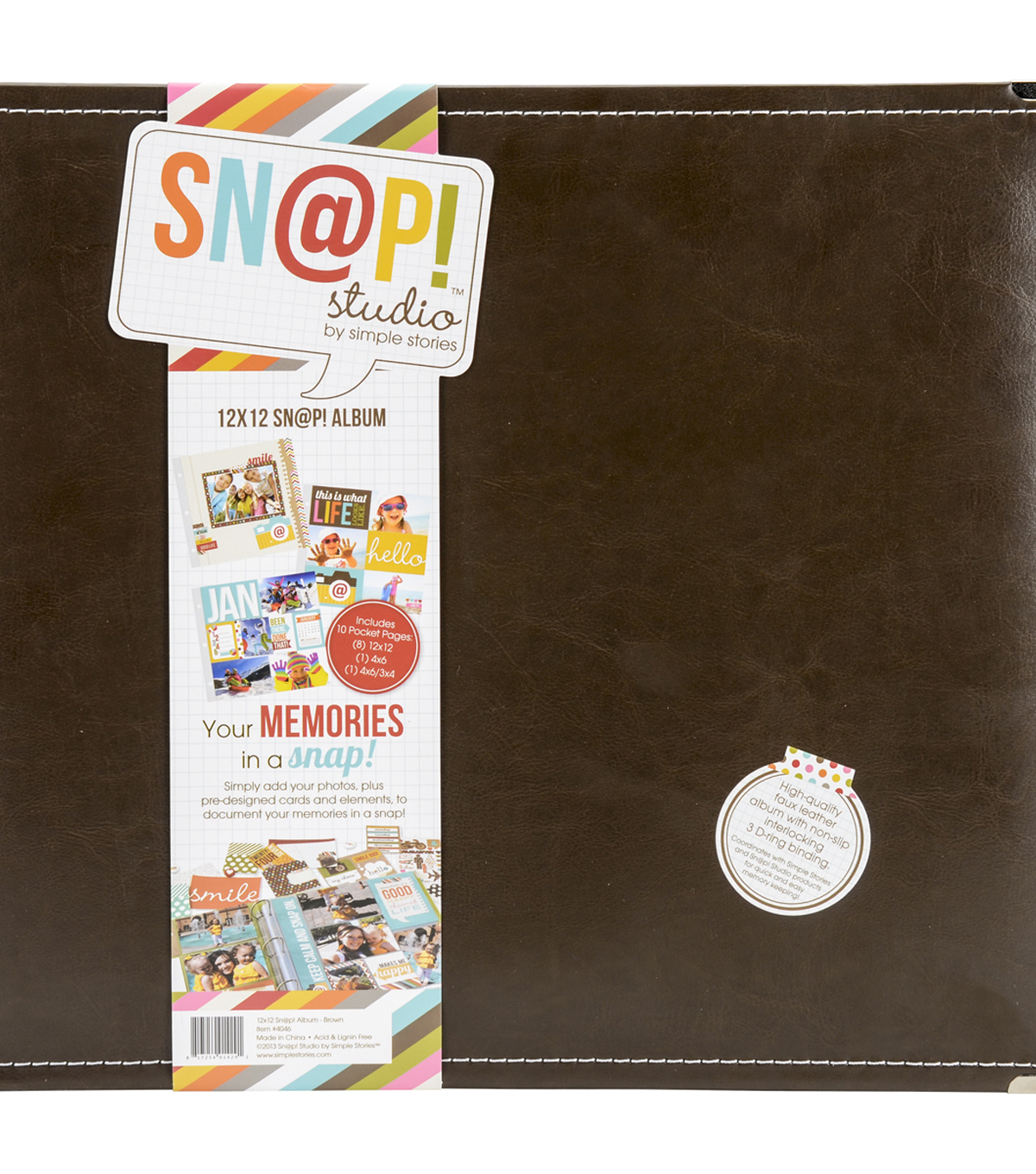 "Sn@p! Leather Binder 12""X12""-Brown"