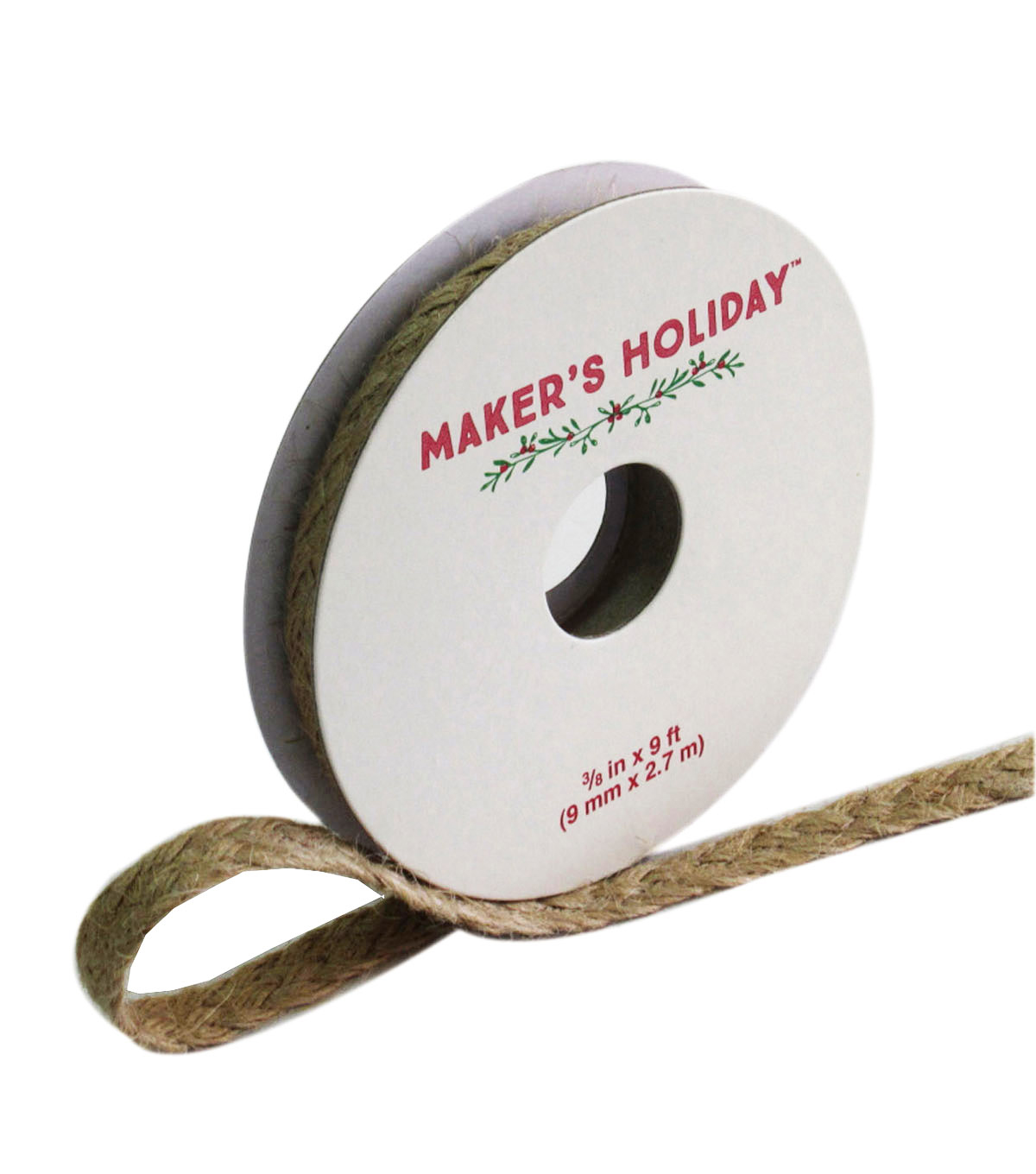 Maker\u0027s Holiday Braided Jute Ribbon 3/8\u0027\u0027x9\u0027