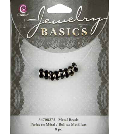 Jewelry Basics 4mmx8mm Rondelle-Silver W/Black