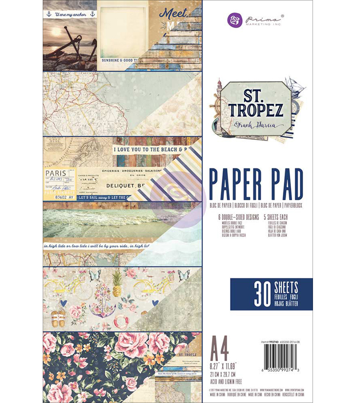 Prima Marketing St. Tropez Frank Garcia 30 Sheets A4 Paper Pad