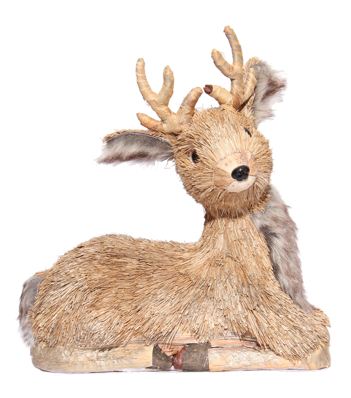 Blooming Holiday Sitting Deer With Faux Fur