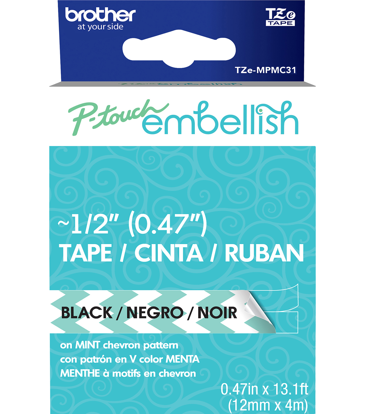 Brother™ P-touch Embellish Patterned Tape-Black Print on Mint Chevron