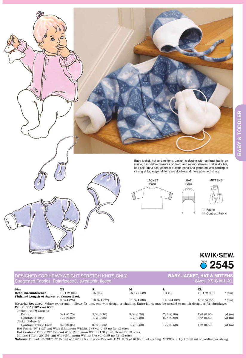 Kwik Sew Pattern K2545 Infants\u0027 Jacket, Hat & Mittens-Size XS-XL