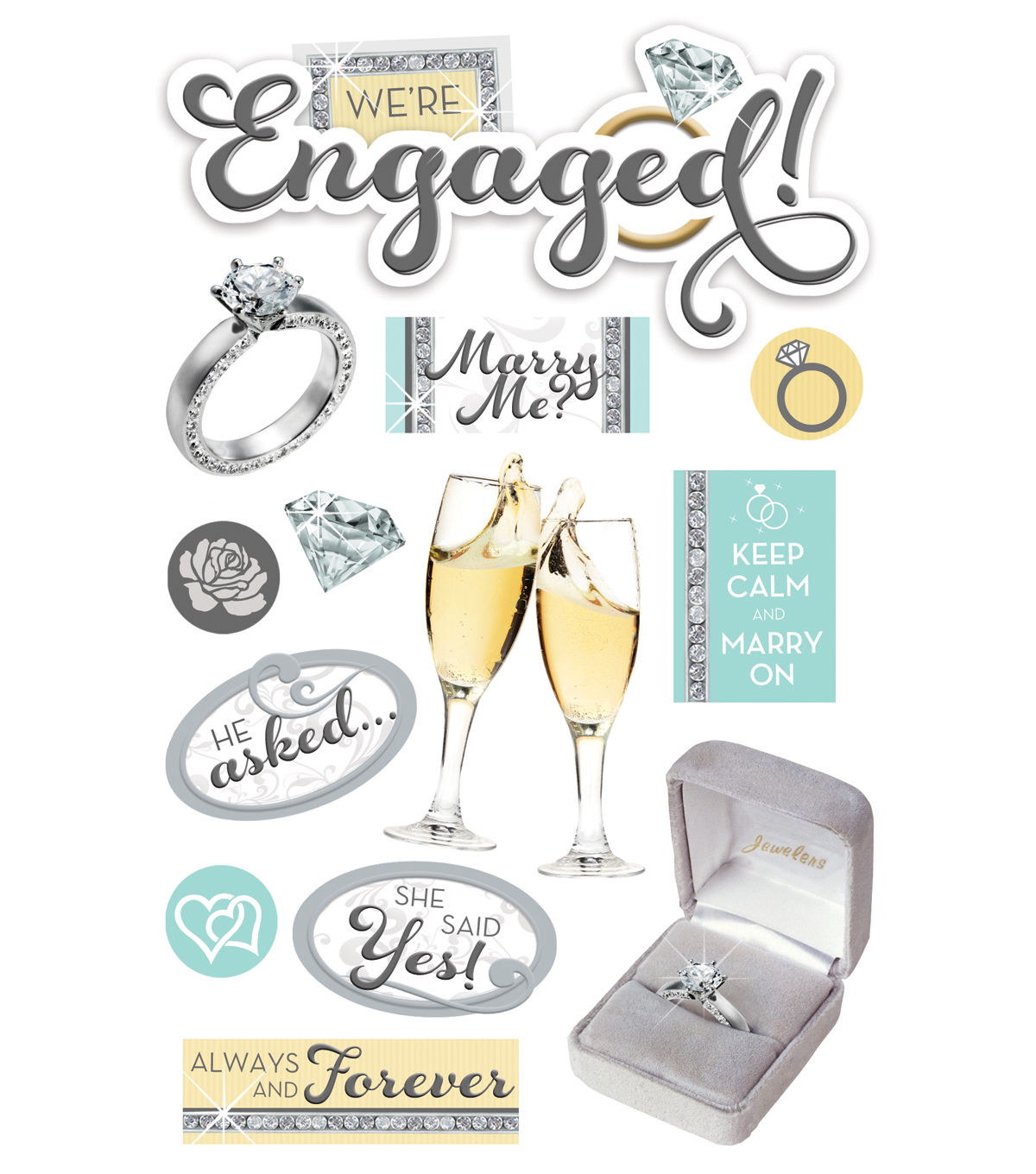 Paper House® 4.5\u0027\u0027x8.5\u0027\u0027 3D Stickers-Engaged