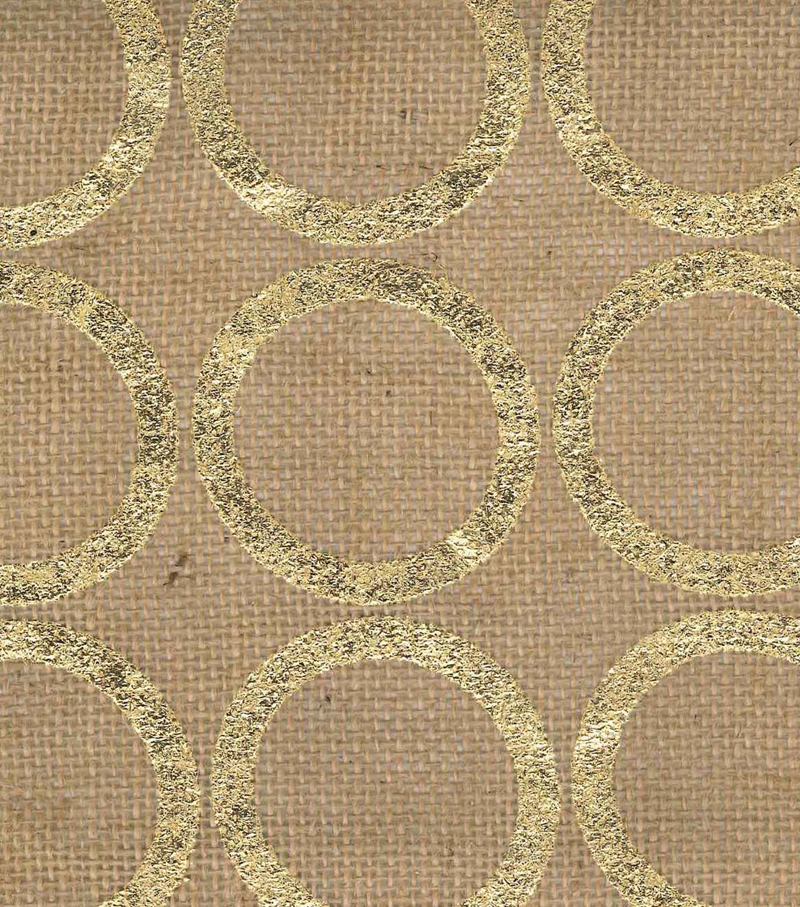 Utility Fabric- Burlap Large. Circle Foil Gold