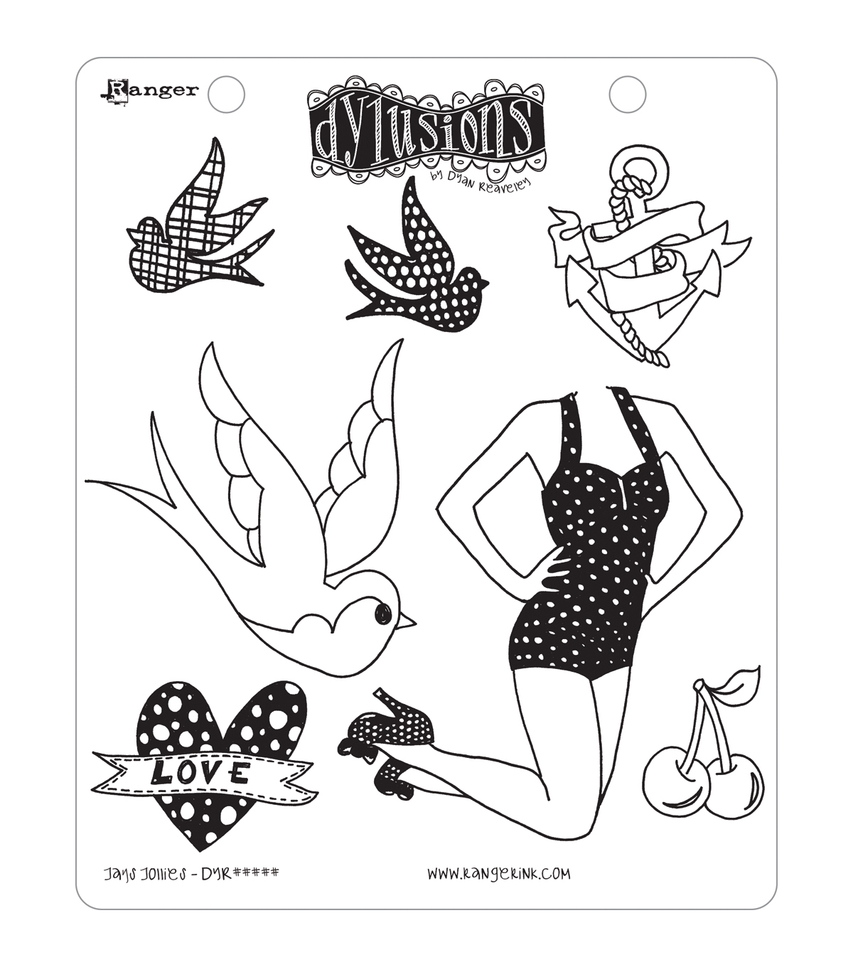 Dyan Reaveley\u0027s Dylusions Cling Stamp Collections 8.5\u0022X7\u0022-Jay\u0027s Jollies