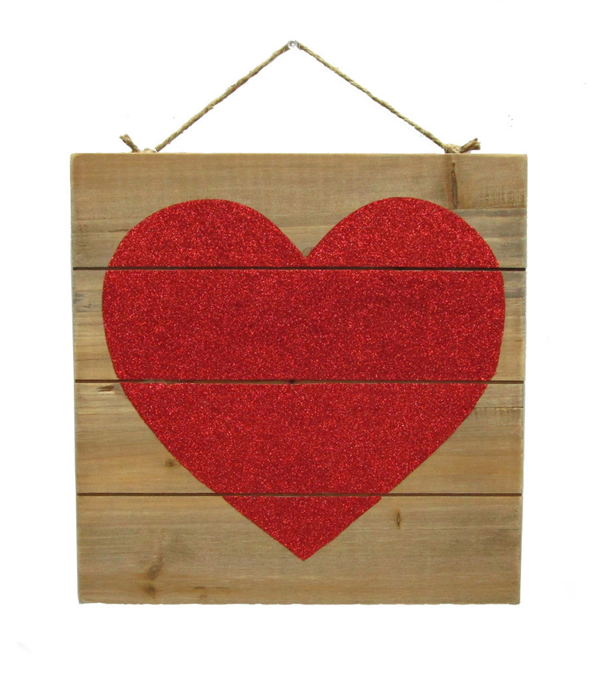 Valentine\u0027s Day Wood Wall Decor-Red Glitter Heart