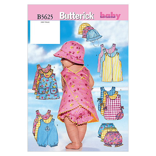 Butterick Pattern B5625 Infants\u0027 Casual Outfits-Size NB-S-M