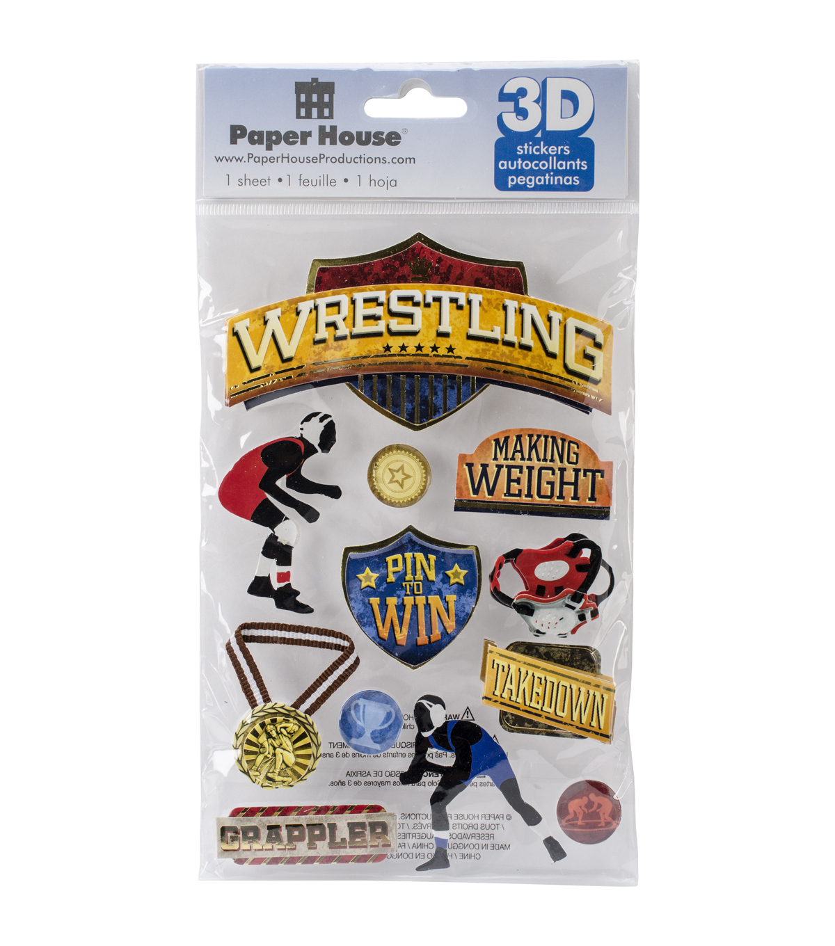 Paper House 3D Stickers-Wrestling
