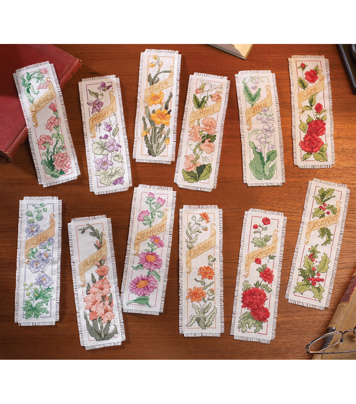 Bucilla Counted Cross Stitch Kit Flowers Of The Month Bookmarks