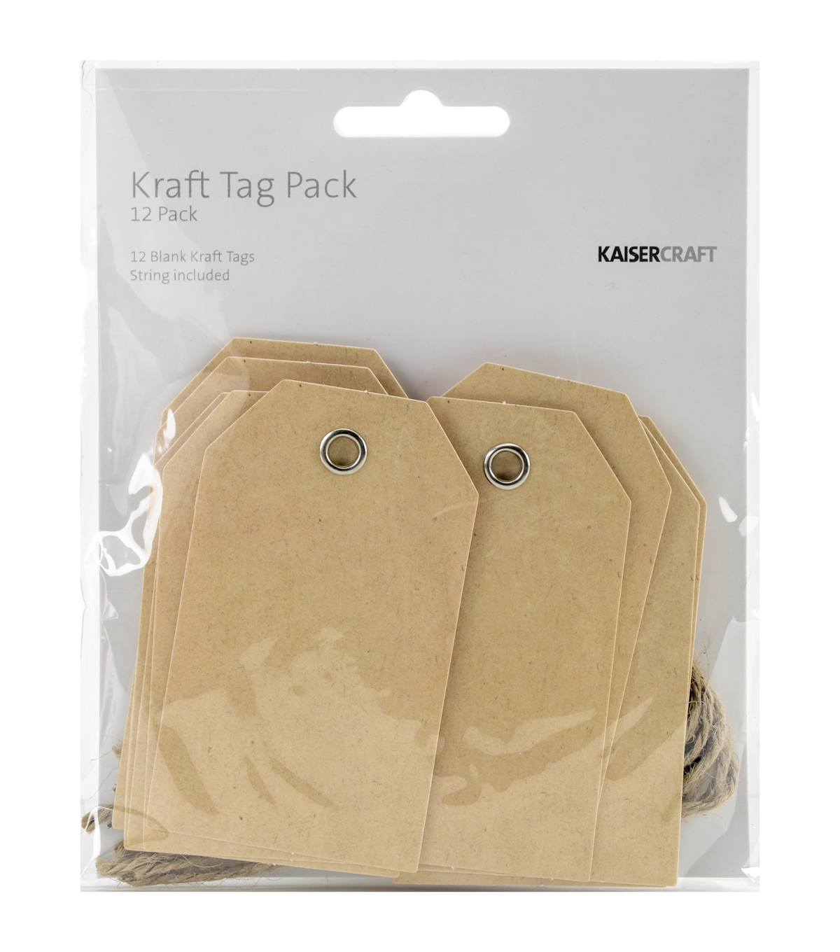 Kaisercraft 12pcs Blank Tags With String-Kraft