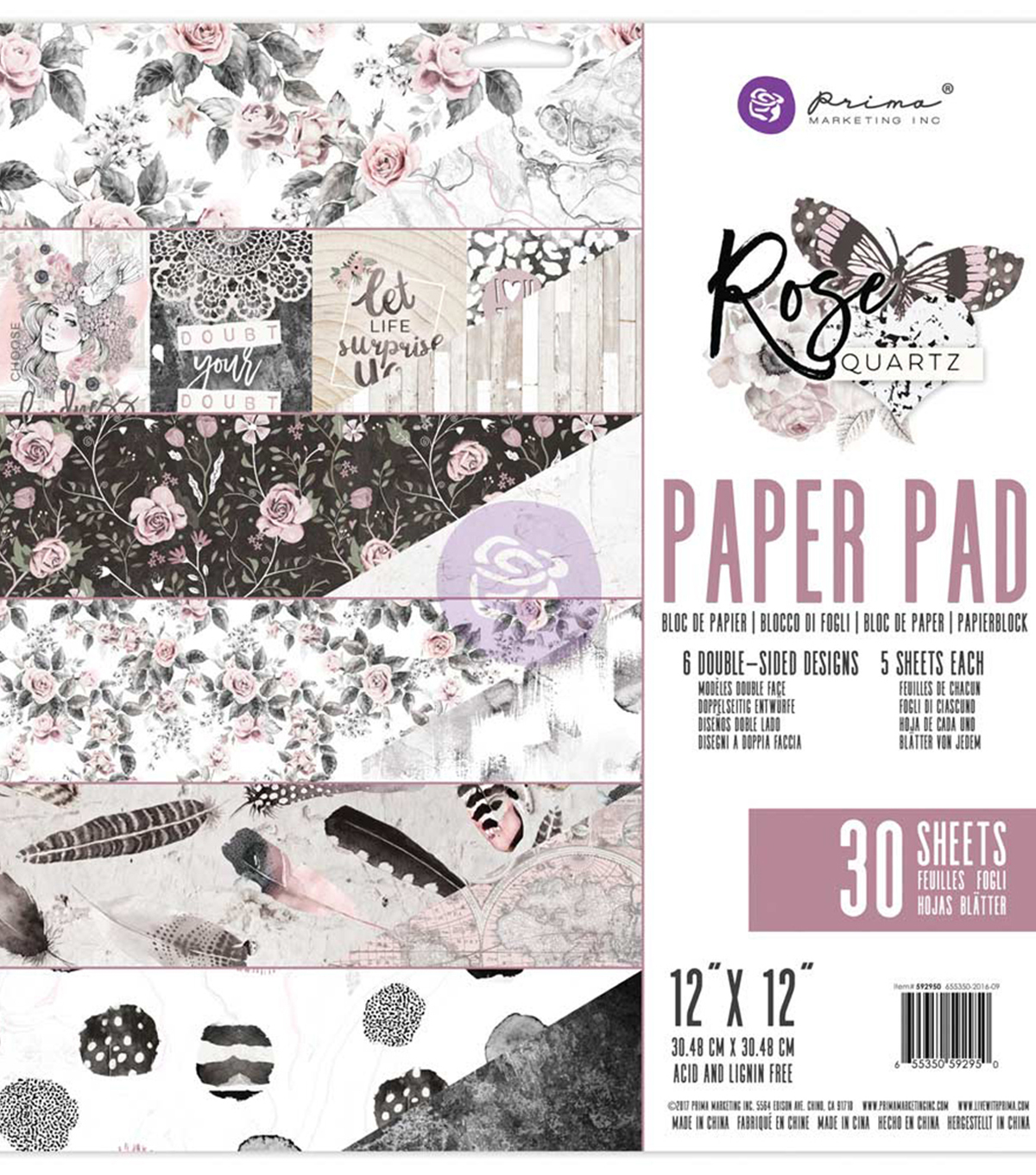 Prima Marketing Double-Sided Paper Pad 12\u0022X12\u0022-Rose Quartz