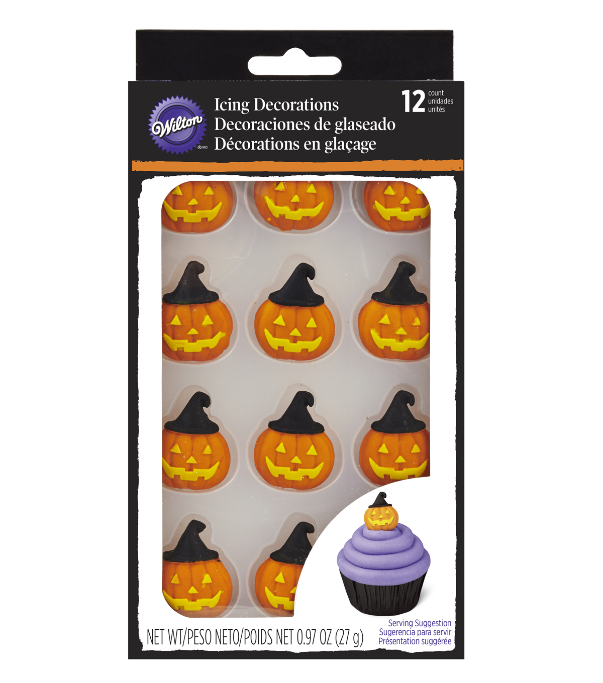 Wilton 12ct Jack-O-Lantern with Witch Hat Icing Decorations