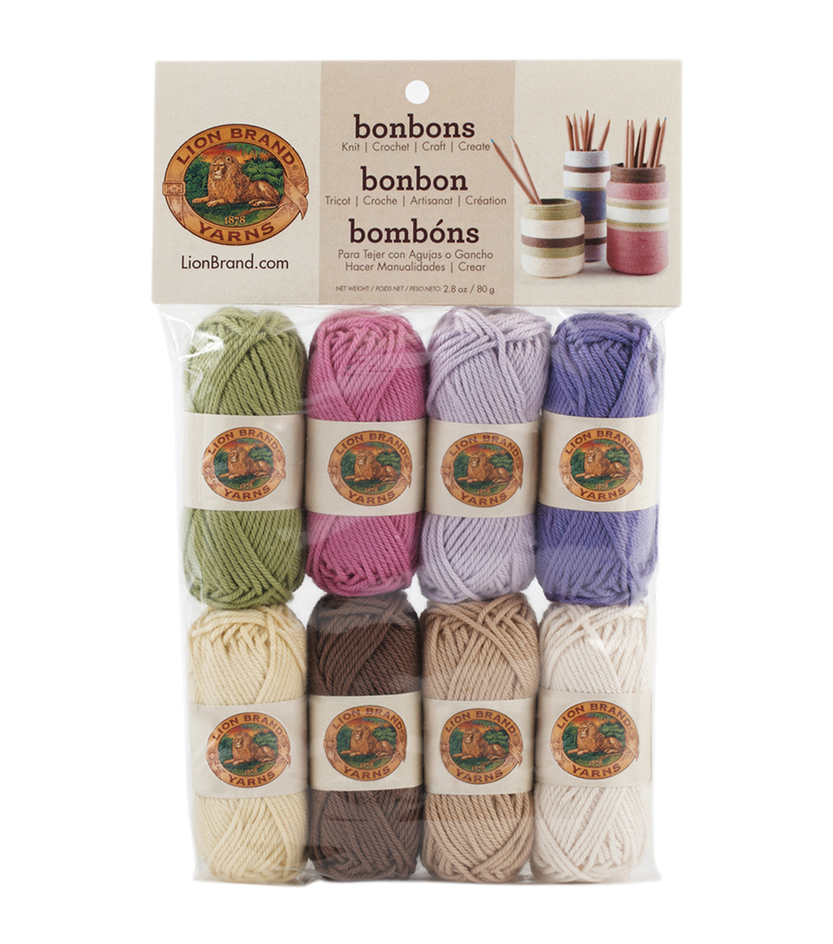 Lion Brand Bonbons Yarn 8/Pkg-Nature