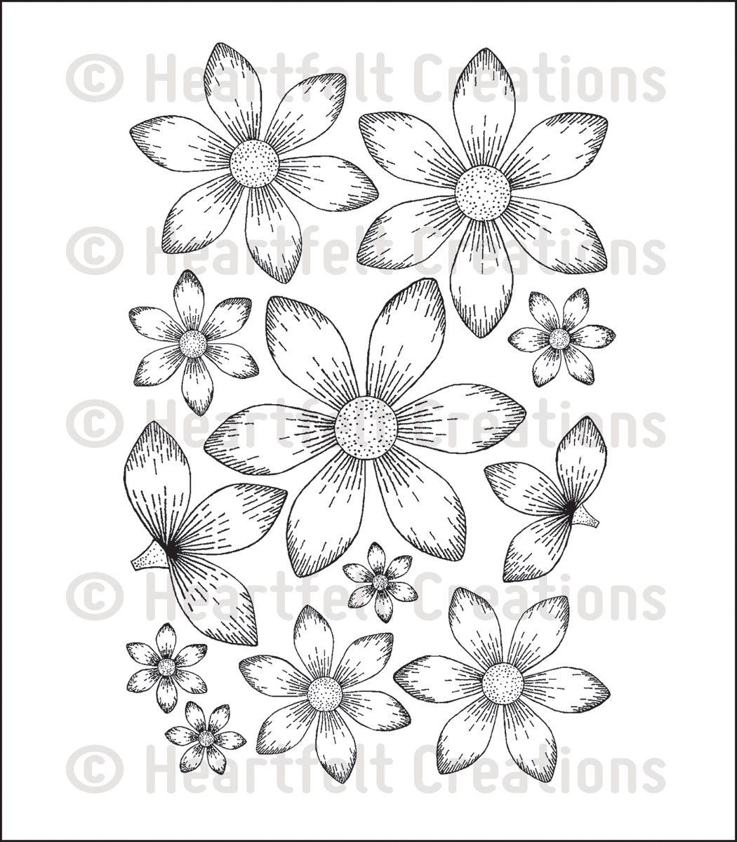 "Heartfelt Creations Cling Rubber Stamp Set 5""X6.5""-Sun Kissed Fleur"