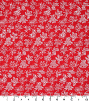 Christmas Cotton Fabric 43\u0022-Pine Branches Red Tonal