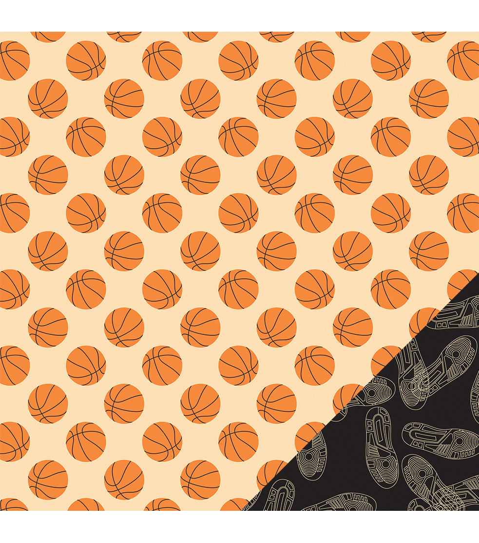 American Crafts Sport Basketballs Double-Sided Cardstock