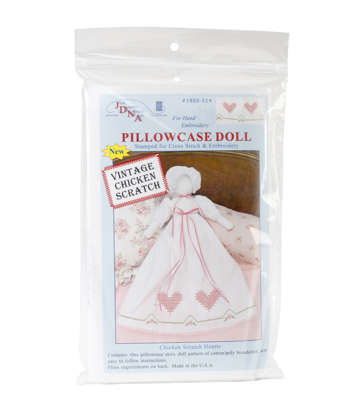 Jack Dempsey Stamped Pillowcase Doll Kit Chicken Scratch Hearts White