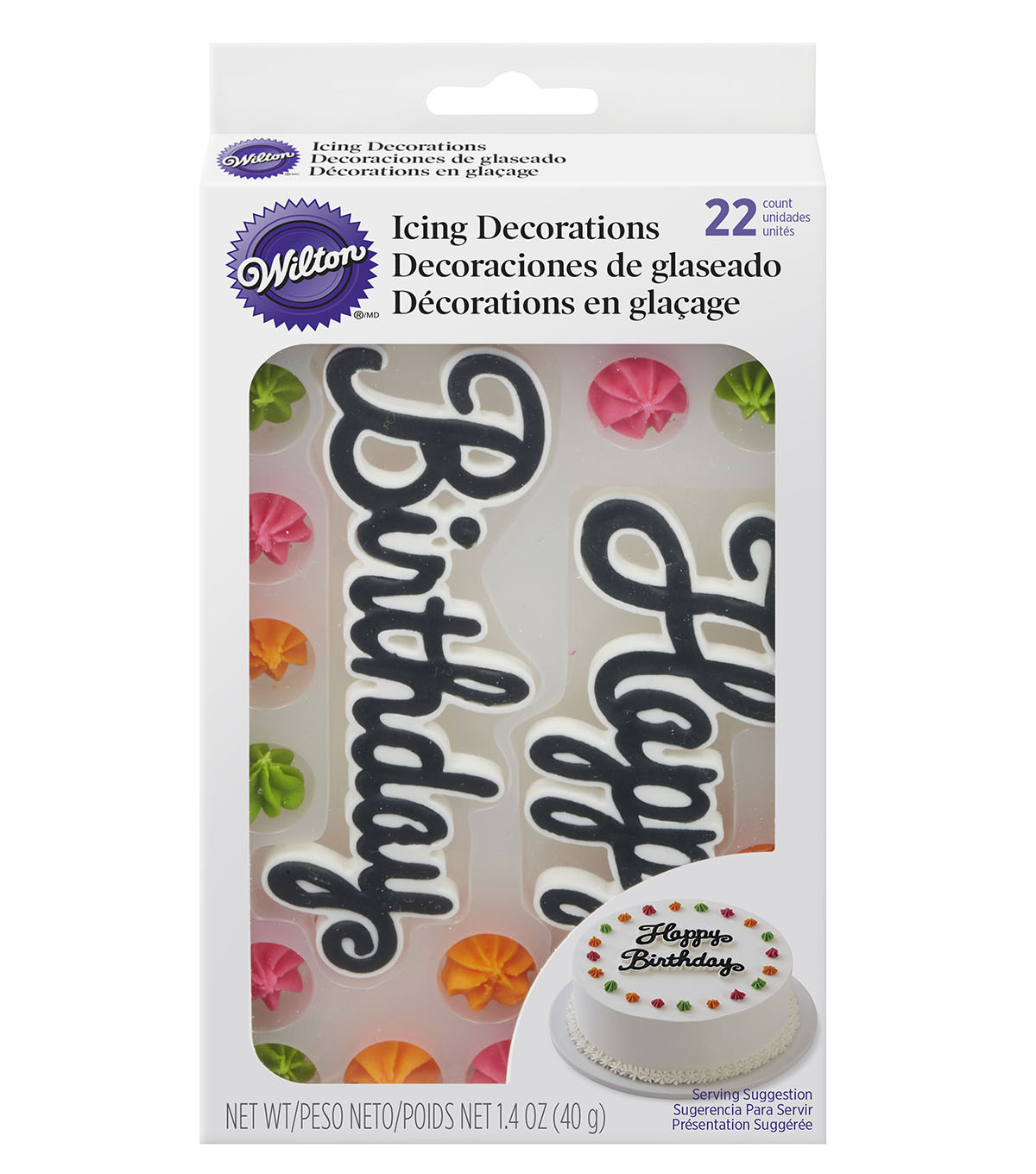 Wilton® 22 Pack 1.4 oz. Royal Icing Cake Decorations-Happy Birthday
