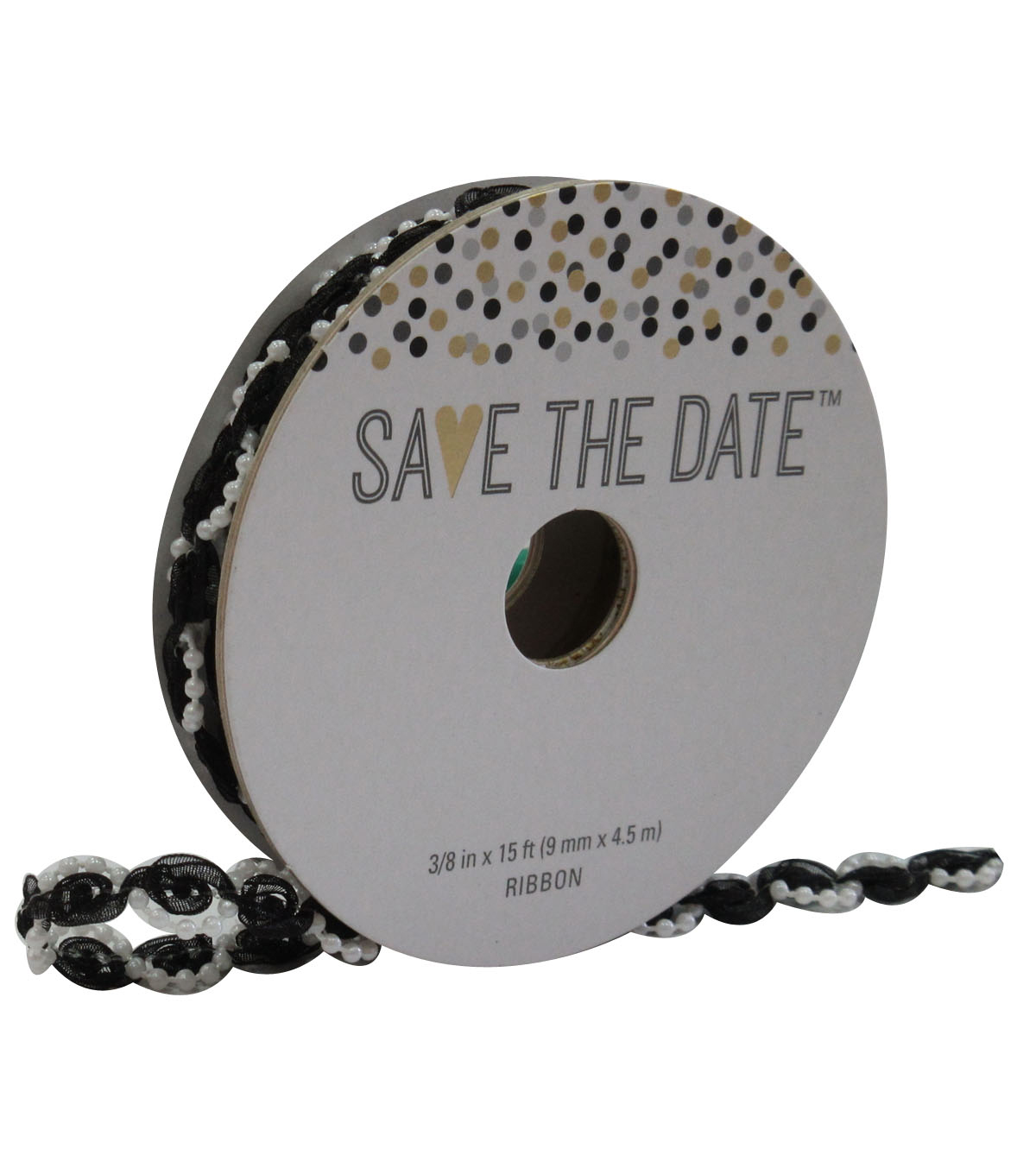 Save the Date 3/8'' X 15' Ribbon-Wrapped Pearl Black
