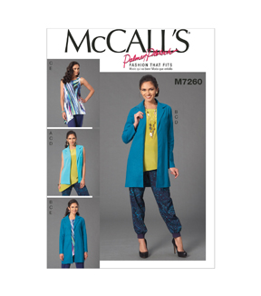 Mccall Pattern M7260-E50-Misses\u0027 Vest, Jacket, Top And Pants-14-16-18-20-22